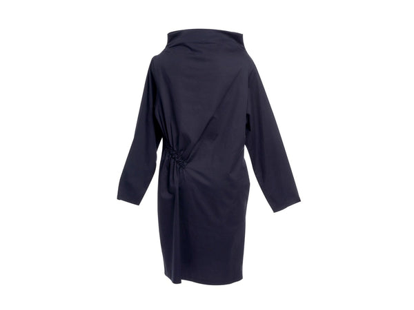 Dark Blue  Wool Diagonal Gathering Dress