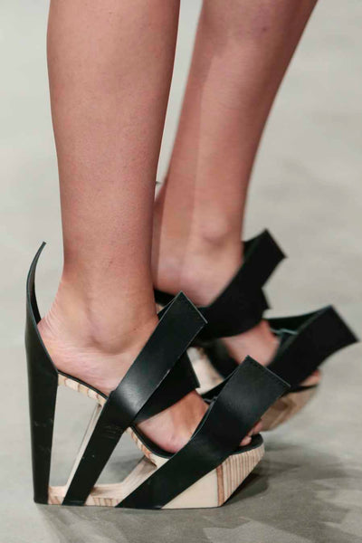 Black Leather and Birch Wood Heels