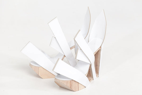 White  Leather and Birch Wood Heels