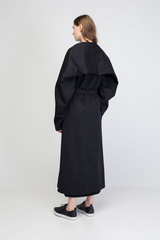 Black cotton maxi  jacket with rectangle sleeves