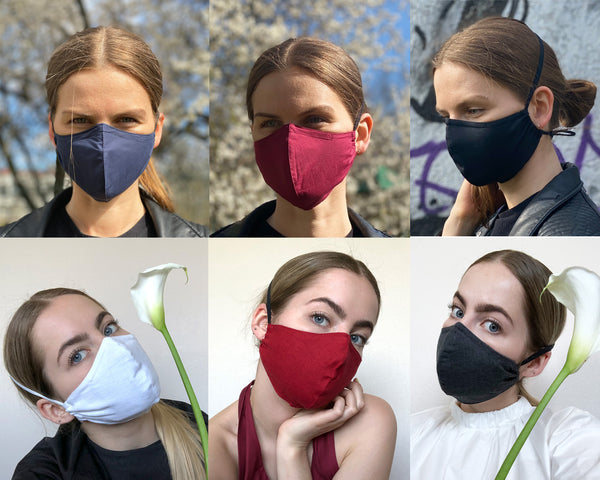 Anti- fog Polka dot Face mask,  fabric PM2.5 filter Reusable Face Mask with Wire/ Punktaina Auduma Maska ar filtriem, lietojama ar brillēm.
