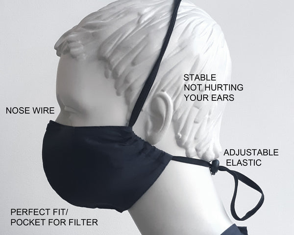 Perfect fit PM2.5 filter stylish Reusable Face Mask Nose Wire , Protection, Organic cotton, Unisex, Black Fabric/Breathable Washable, Adult