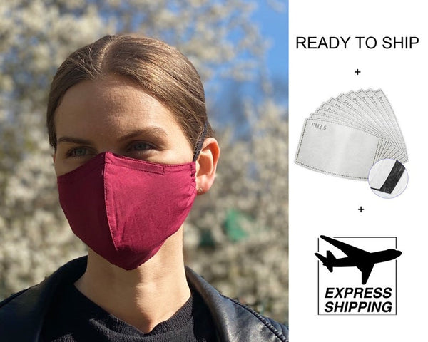 Bordo fabric PM2.5 filter Reusable Face Mask with Wire/ Auduma Maska ar filtriem