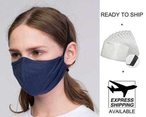 Dark  Blue  fabric PM2.5 filter Reusable Face Mask with Wire/ Zila Auduma Maska ar filtriem