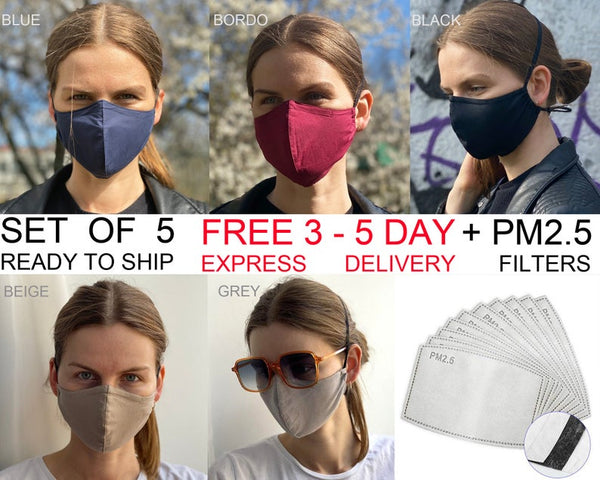 Grey face mask, PM2.5 carbon filter Reusable anti-fog Face Mask for glasses,  with nose Wire/ Pelēkas  kokvilnas auduma Maska ar filtriem