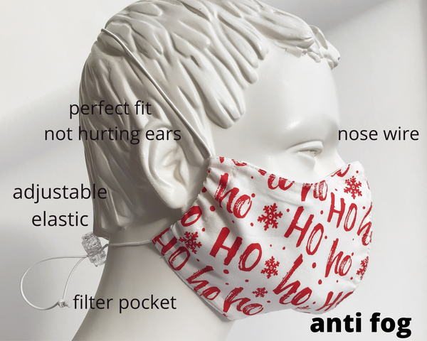 Christmas Ho Ho face mask, PM2.5 filter reusable face mask with nose wire/ Ziemassvētku Auduma Maska ar filtriem