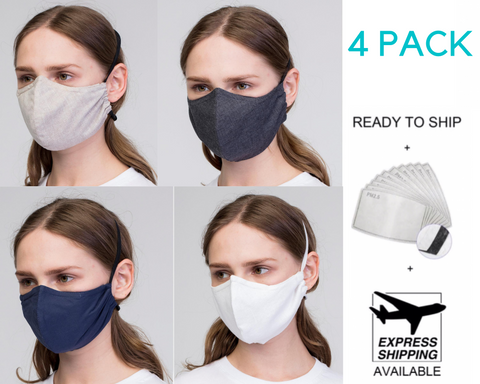 4 pack face mask, over the head face mask,, reusable face mask with wire/ 4 sejas Maskas