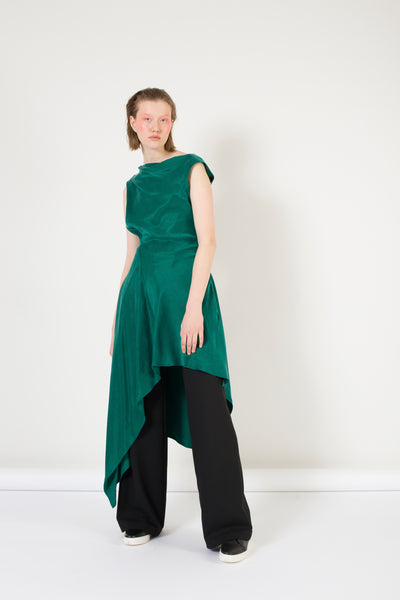 Asymmetric Emerald Dress