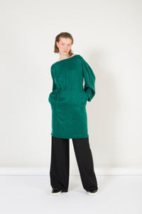 Rectangle  Sleeve Emerald Green Dress