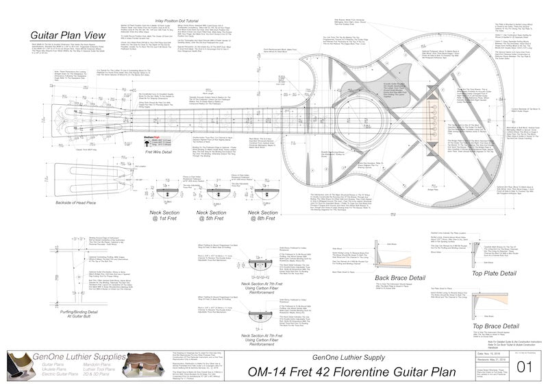 OM 12-Fret 42 Florentine Guitar Plan View