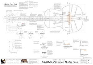 00-28vs V-Brace Guitar Plans, Plan View