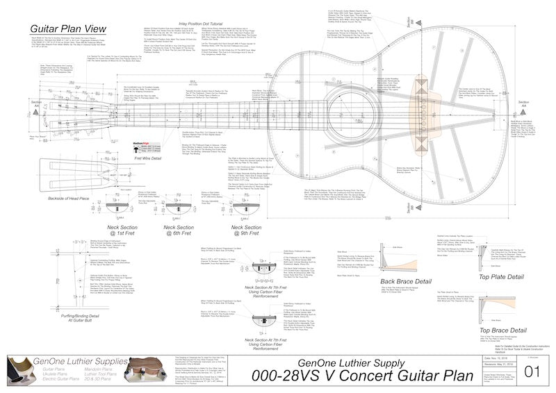 000-28vs V-Brace Guitar Plans, Plan View