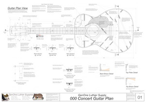 000 Guitar Plans Top View, Neck Sections & Purfling Details