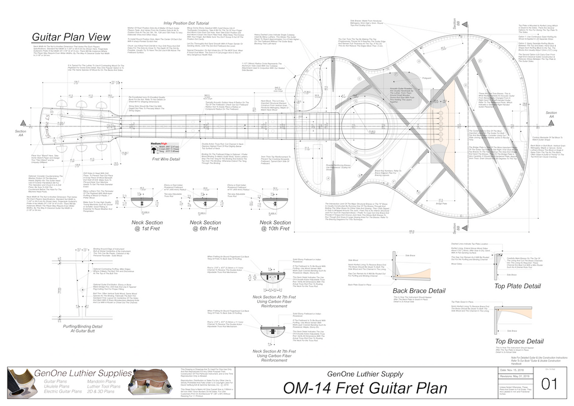 OM-14 Fret Guitar Plans Top View, Neck Sections & Purfling Details