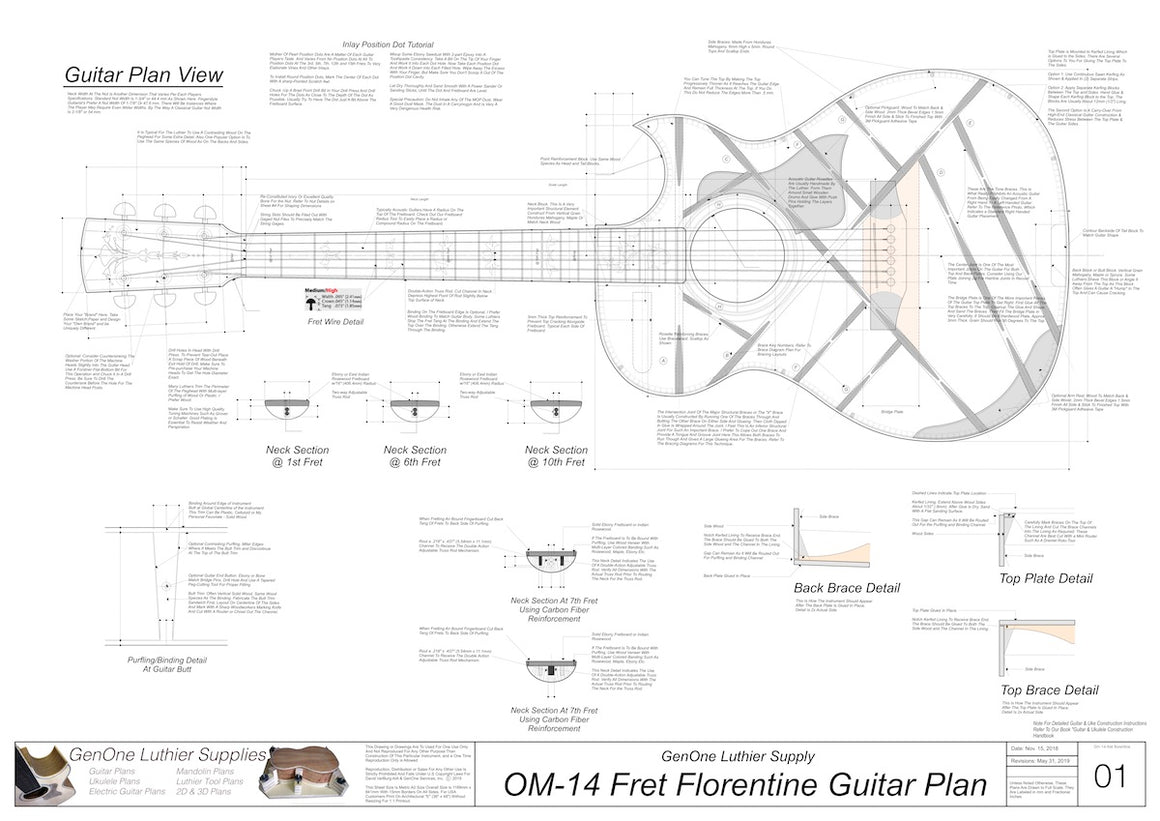 OM 14-Fret Florentine Guitar Plans Top View, Neck Sections & Purfling Details