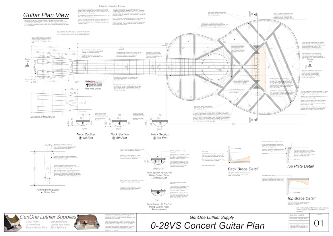 0-28vs Guitar Plans Top View, Neck Sections & Purfling Details