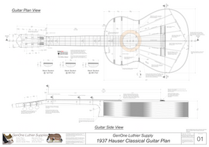 1937 Hermann Hauser Guitar Plans Top View, Neck Sections & Purfling Details