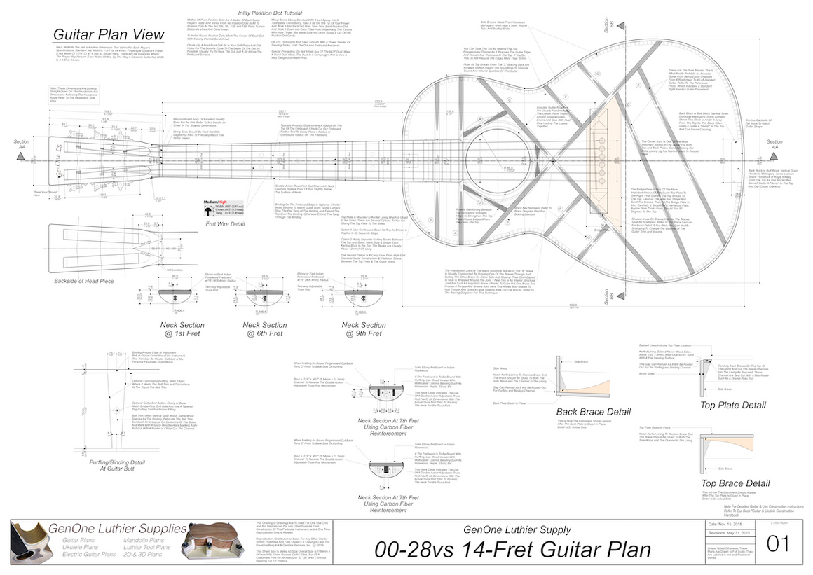 00-28vs 14-Fret Guitar Plans Top View, Neck Sections & Purfling Details