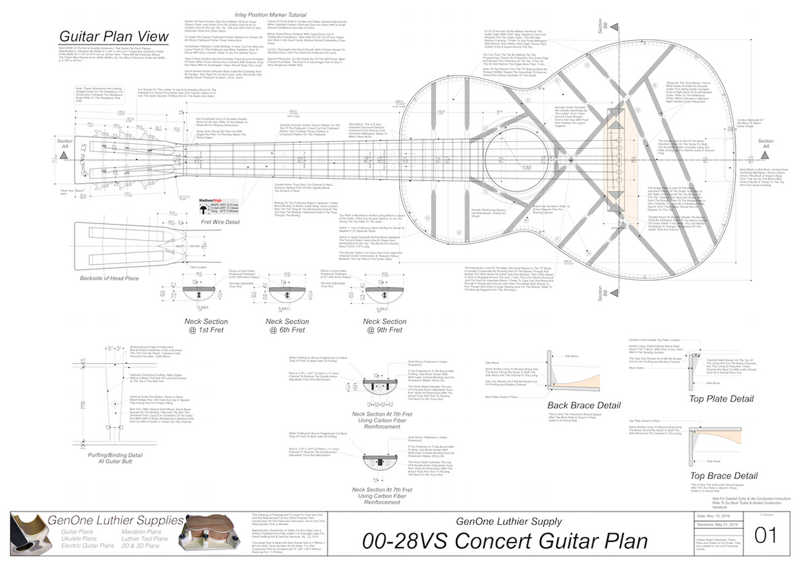 00-28vs Guitar Plans Top View, Neck Sections & Purfling Details