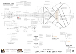 000-28vs 14 Fret Guitar Plans Guitar Plans Top View, Neck Sections & Purfling Details