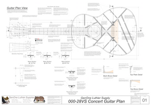 000-28vs Guitar Plans Top View, Neck Sections & Purfling Details