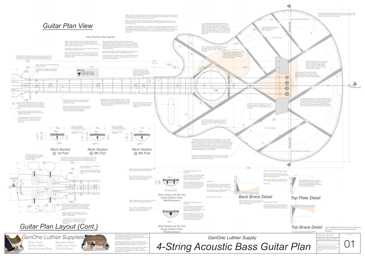 4-String Acoustic Bass Guitar Plans guitar top view, neck sections, details