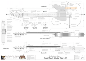 Solid Body Electric Guitar Plan #2 Guitar top view, side view, lateral & longitudinal sections