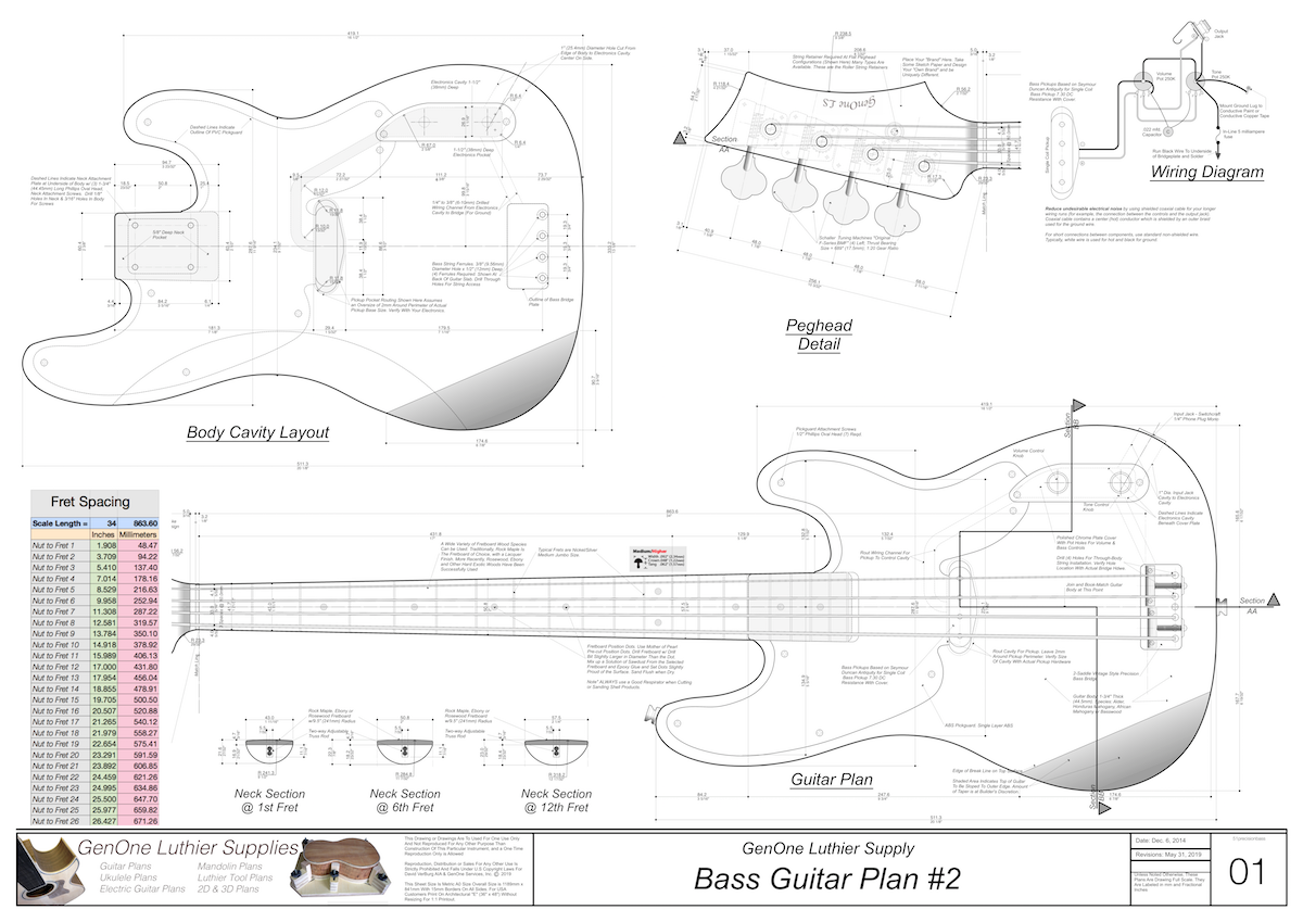 Solid Body Electric Bass Guitar Plan #2 - GenOne Luthier Services | Hollow Body Bass Guitar Wiring Diagram |  | GenOne Luthier Services
