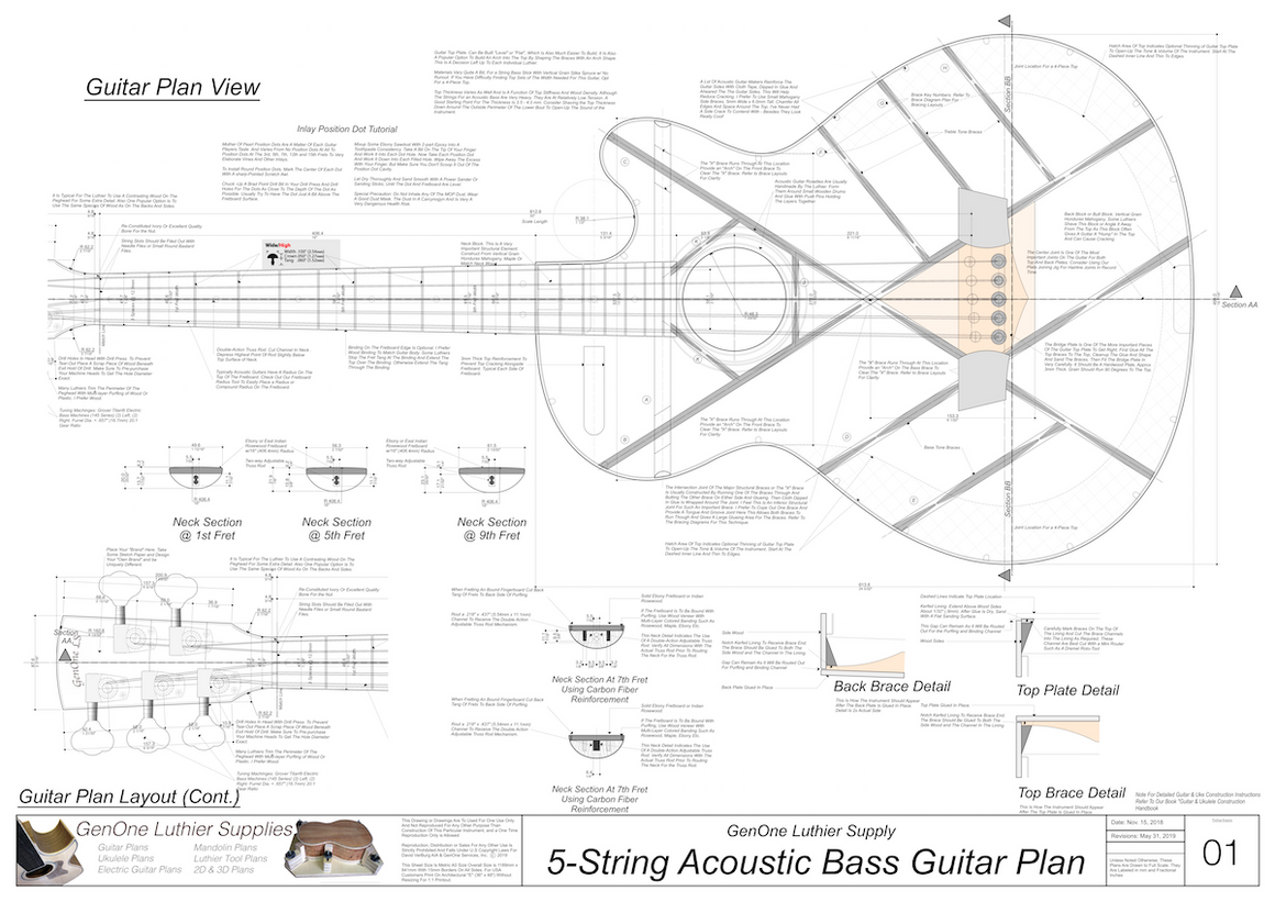 5-String Acoustic Bass Guitar Plans guitar top view, neck sections, details