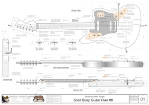Solid Body Electric Guitar Plan #6 Guitar Top & Side View, Section