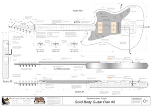 Solid Body Electric Guitar Plan #8 Guitar Top & Side View, Section