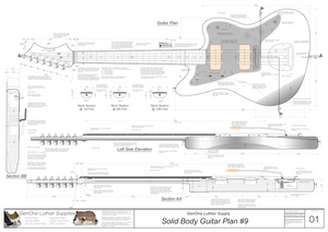 Solid Body Electric Guitar Plan #9 Guitar Top & Side View, Section