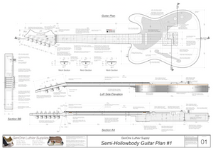 Hollow Body Electric Guitar Plan #1 Guitar top view, side view, lateral & longitudinal sections