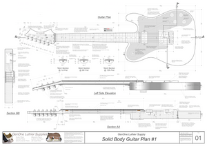 Solid Body Electric Guitar Plan #1 Guitar Top & Side View, Section