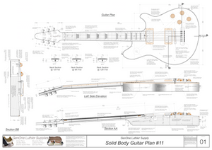 Solid Body Electric Guitar Plan #11 Guitar Top & Side View, Section