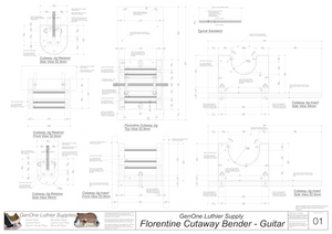 Florentine Cutaway Bender - Guitar: Detailed Noted and Dimensioned drawings for each size bender