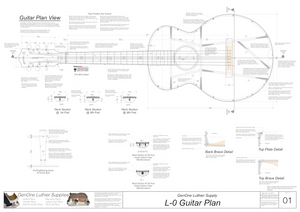 Gibson L-0 Guitar Plans Top View, Neck Sections & Purfling Details