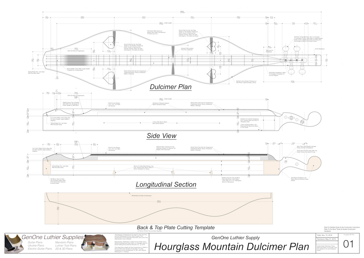 Hourglass Mountain Dulcimer Plans Top view, side view section