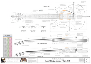 Solid Body Electric Guitar Plan #21, guitar top view, side view, longitudinal section, fret spacing table