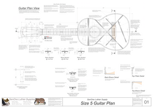 Size 5 Guitar Plans Top View, Neck Sections & Purfling Details