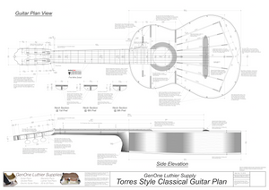 Classical Guitar Plans - Torres Bracing Top View, Neck Sections & Purfling Details