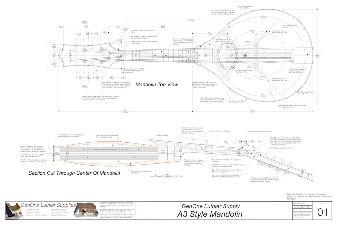 A3 Mandolin Plan View, Side View