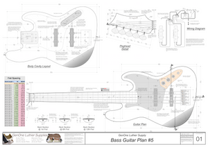 Solid Body Electric Bass Guitar Plan #5 Guitar top view, routing template, fret spacing template, wiring diagram