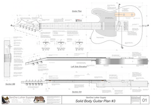 Solid Body Electric Guitar Plan #3 Guitar Top & Side View, Section
