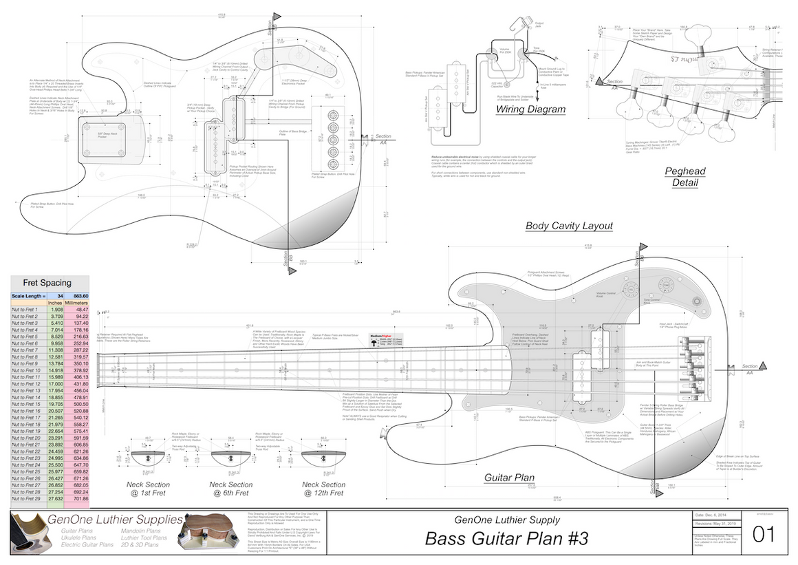 Solid Body Electric Bass Guitar Plan #2 guitar top view, cutting template, neck sections, wiring diagram, fret spacing table