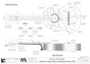 Classical Guitar Plans Ramirez Bracing 650mm Top View, Neck Sections & Purfling Details