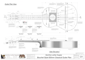 Classical Guitar Plans - Bouchet Bracing 650mm Top View, Neck Sections & Purfling Details