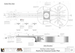 Classical Guitar Plans - Kasha 2 Bracing Top View, Neck Sections & Purfling Details
