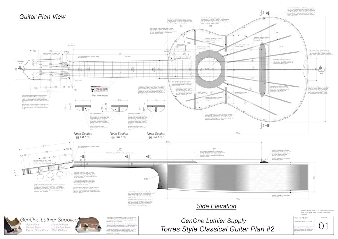 Classical Guitar Plans - Torres 2 Bracing  Top View, Neck Sections & Purfling Details
