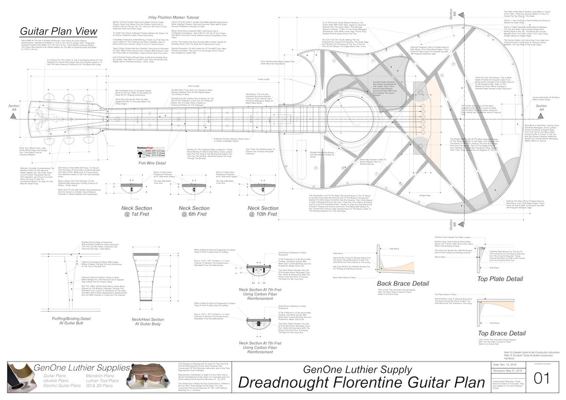 Dreadnought Florentine Guitar Plans Top View, Neck Sections & Purfling Details